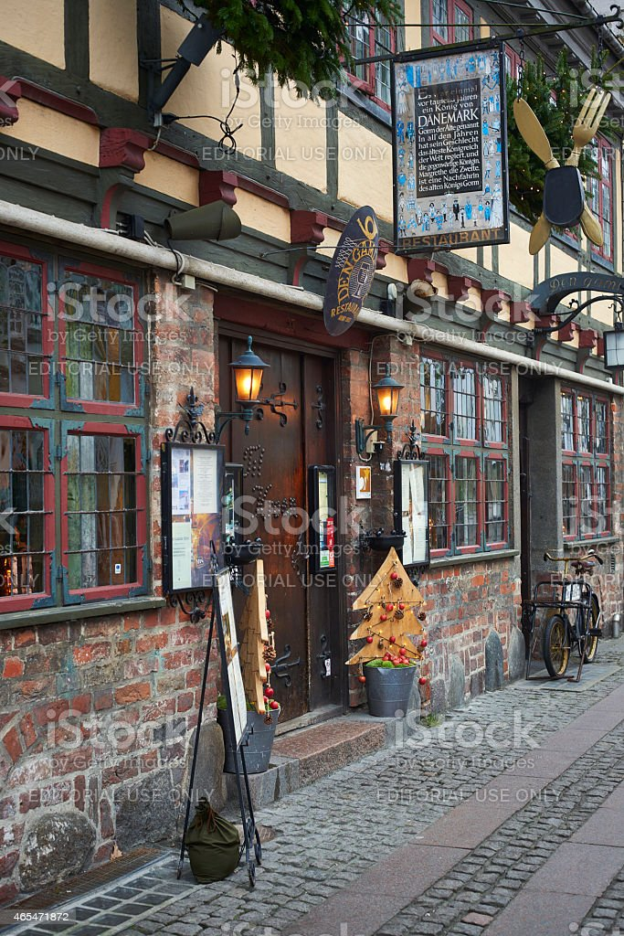 Small Cozy restaurant in old house in Odense-Denmark stock photo