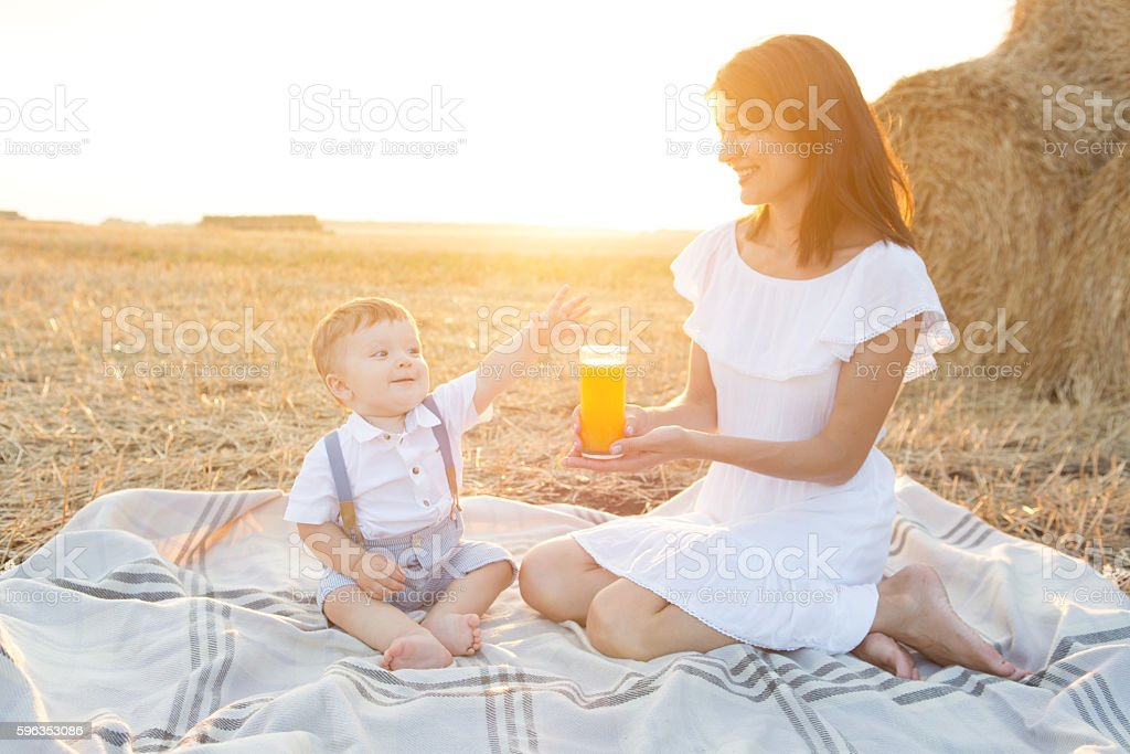 Small cute baby with his mother on a picnic. royalty-free stock photo