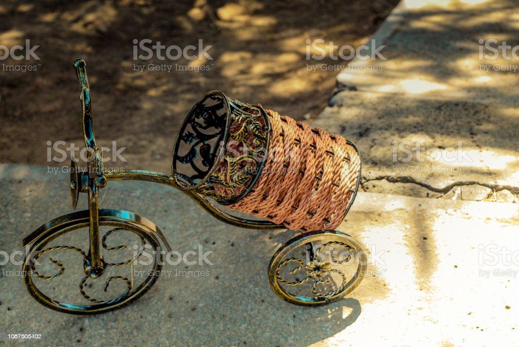 Small decorative bike  in view stock photo