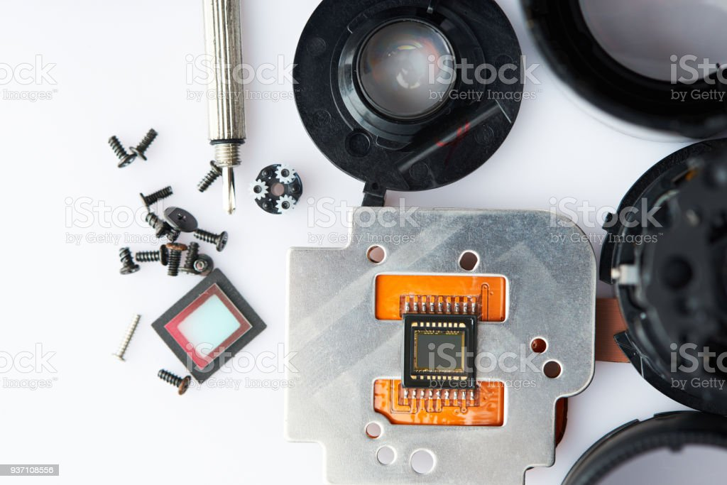 Small digtial parts of modern camera stock photo