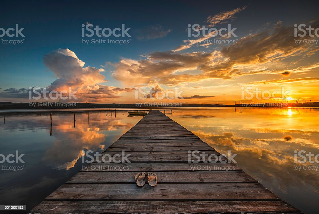 Small Dock And Boat At The Lake Stock Photo & More ...
