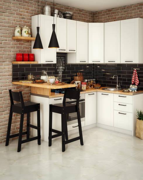 Small Domestic Kitchen Interior stock photo