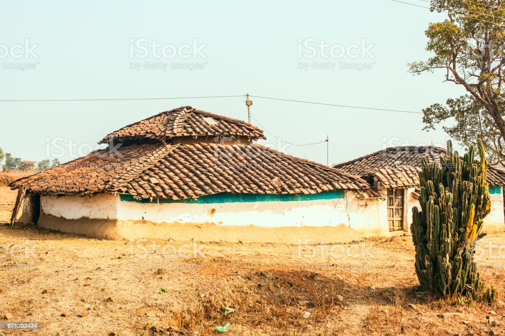 Small dwelling with clay tiles stock photo