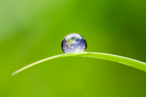 Macro 4x of a waterdrop on a green blade of grass reflecting our earth. Focus on foreground. Shallow depth of field. North America earth orientation.