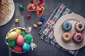 Small Easter Bunt Cakes with Icing and Sweets