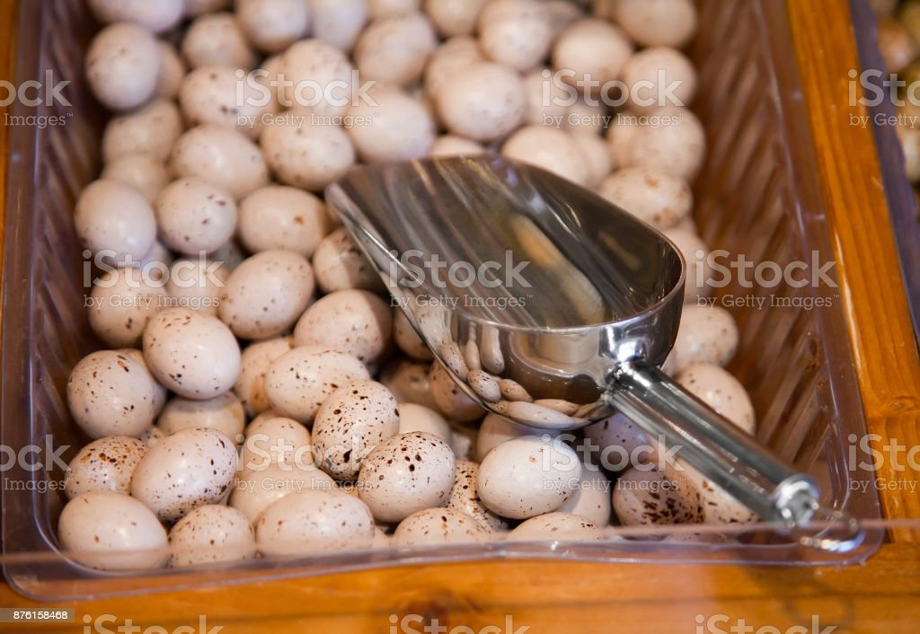 Small eggs of finest Belgian chocolate stock photo