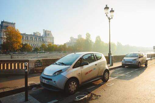 Small electric car in Paris.