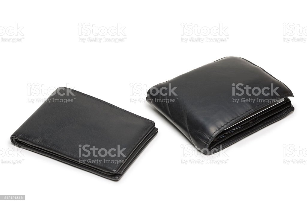 Small empty and big full wallet on white stock photo