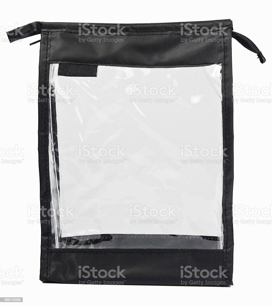 Small empty synthetic fabric bag with transparent side royalty-free stock photo