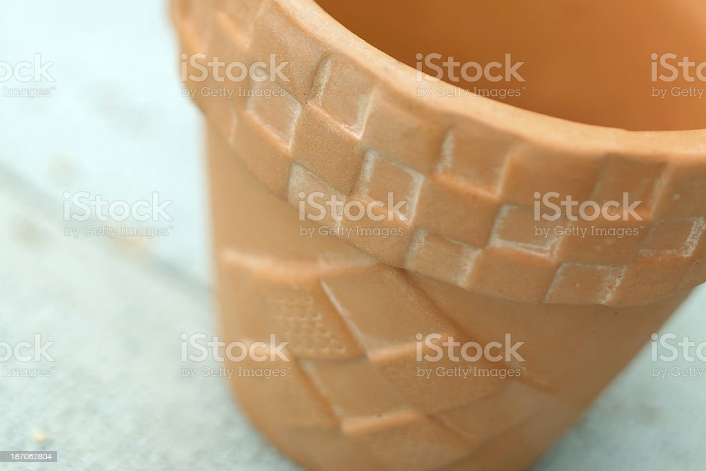 Small empty terra cotta growing pot with decoration royalty-free stock photo