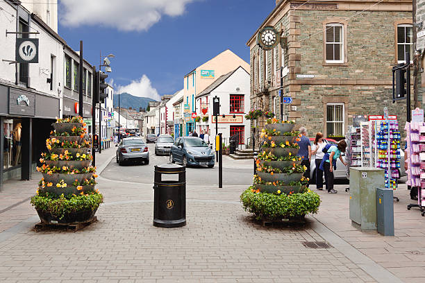 Small English Town Street, Keswick, Lake District, England. stock photo