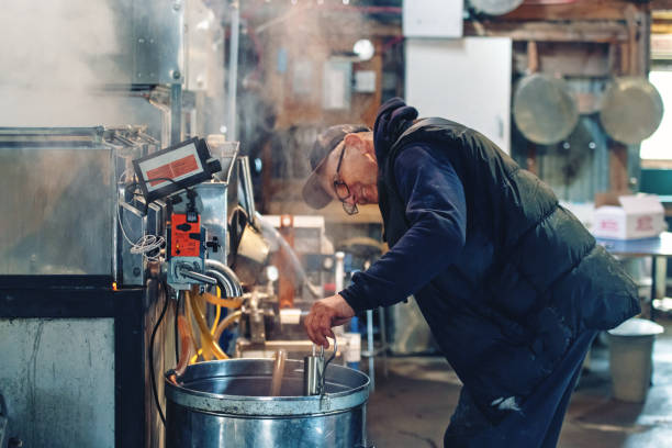 small family business of a maple syrup industry - maple syrup stock photos and pictures