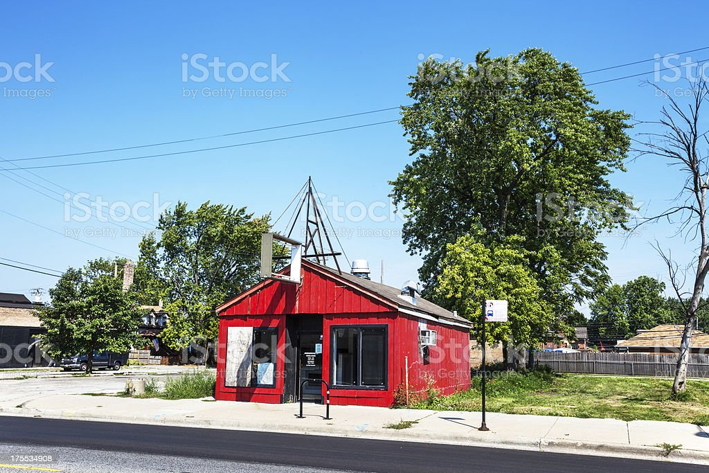 Small fast food business in Mount Greenwood, Chicago royalty-free stock photo