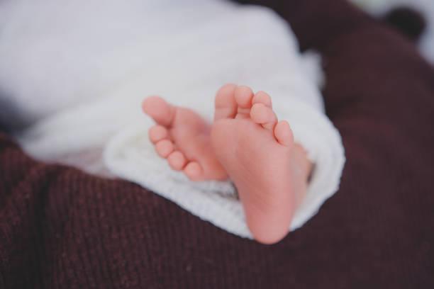 small feet of newborn baby stock photo