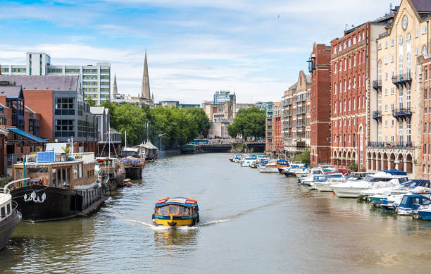 Small ferry boat on a canal in Bristol, UK stock photo