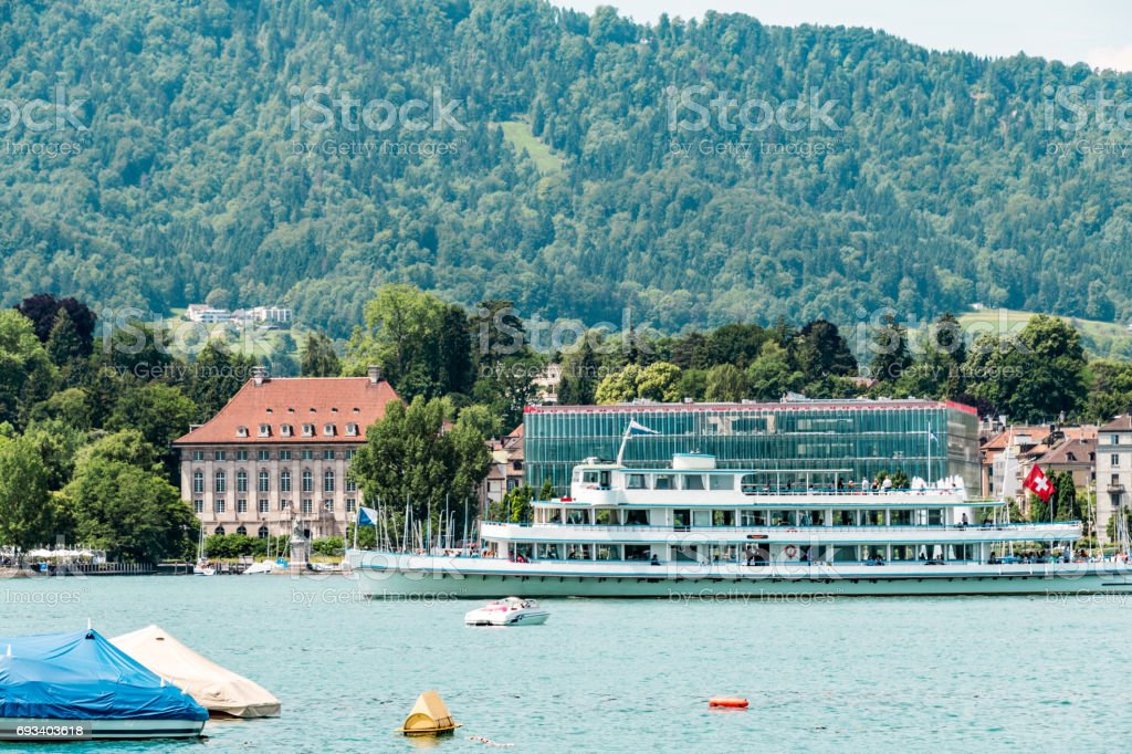 Small ferry on Lake Zurich stock photo