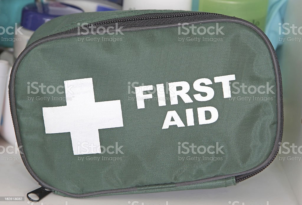A small first aid kit sitting inside a bathroom cabinet.