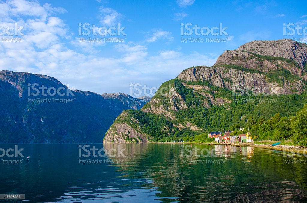 Small fisher village Nærøyfjord in Norway stock photo