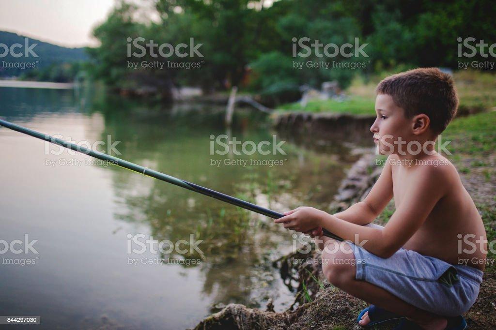 Small fisherman stock photo