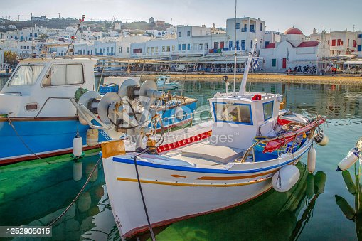 Small fishing boats in old port of  greek Island  Mykonos.   Wonderful morning at Greek islands - best  for recreation and relax