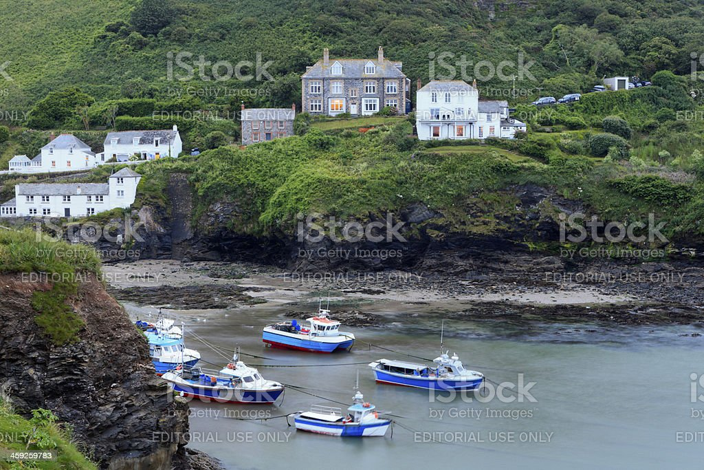 small fishing boats in the harbour of Port Isaac royalty-free stock photo
