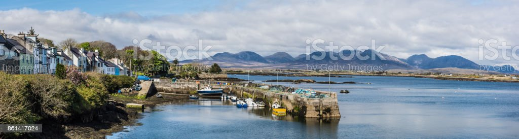 Small fishing village harbour photographed in Ireland stock photo