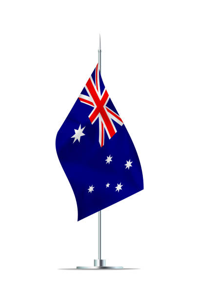 Small Flag of Australia on a Metal Pole stock photo