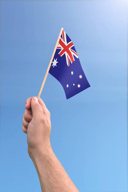 Small flag of Australia stock photo