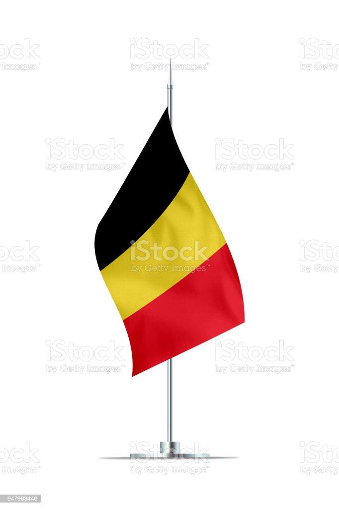 Bandera pequeña de Bélgica en un poste de Metal - foto de stock