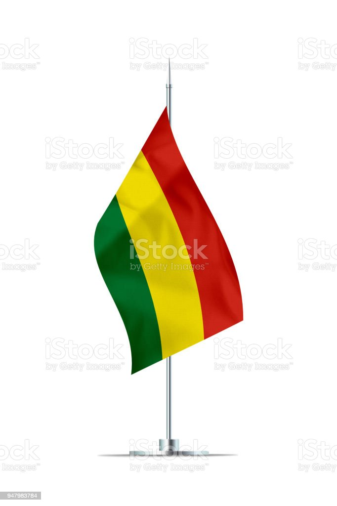 Small Flag of Bolivia on a Metal Pole stock photo