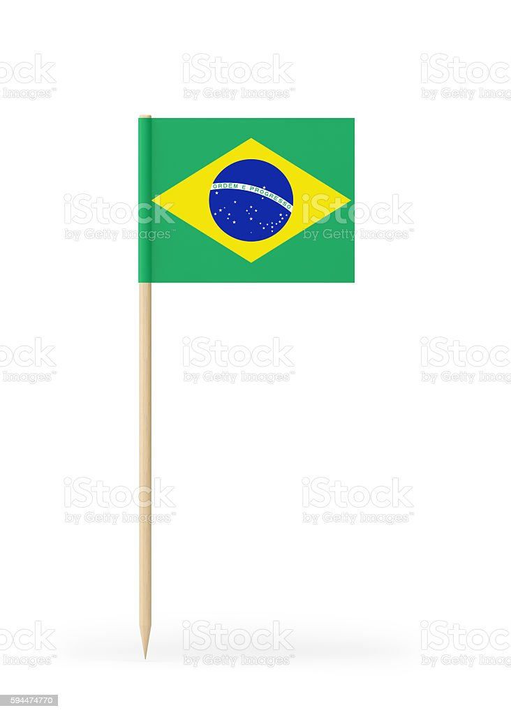 Small Flag of Brazil on a Toothpick stock photo