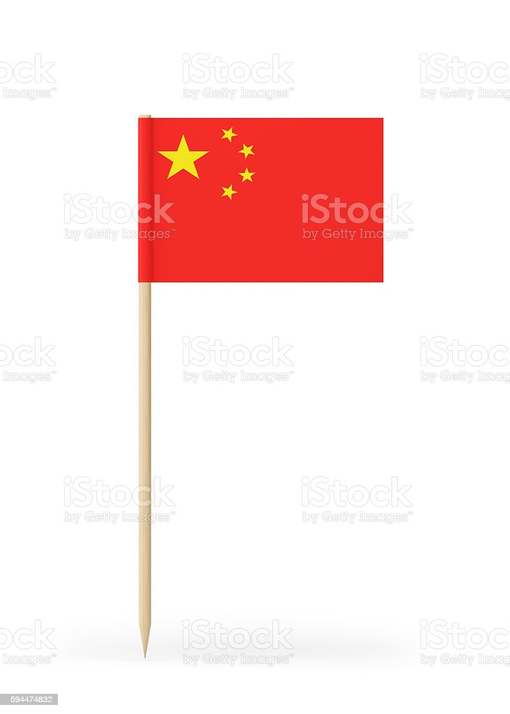 Small Flag of China on a Toothpick stock photo