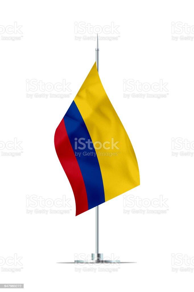 Pequeña bandera de Colombia en un poste de Metal - foto de stock