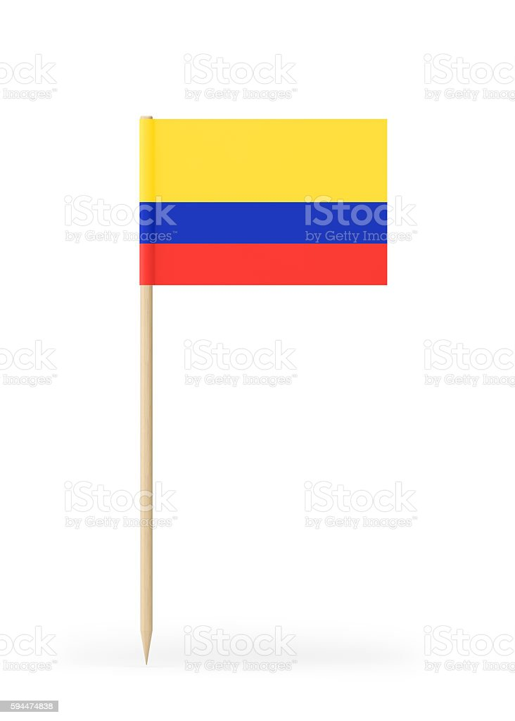 Small Flag Of Columbia On A Toothpick Stock Photo More Pictures Of