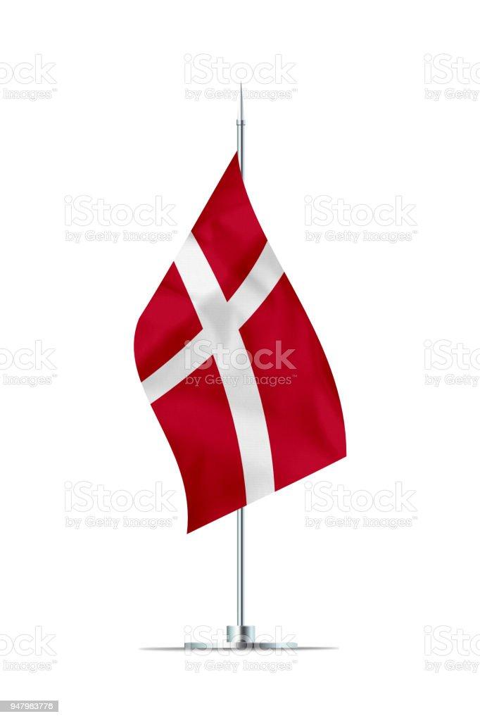 Pequeña bandera de Dinamarca en un poste de Metal - foto de stock