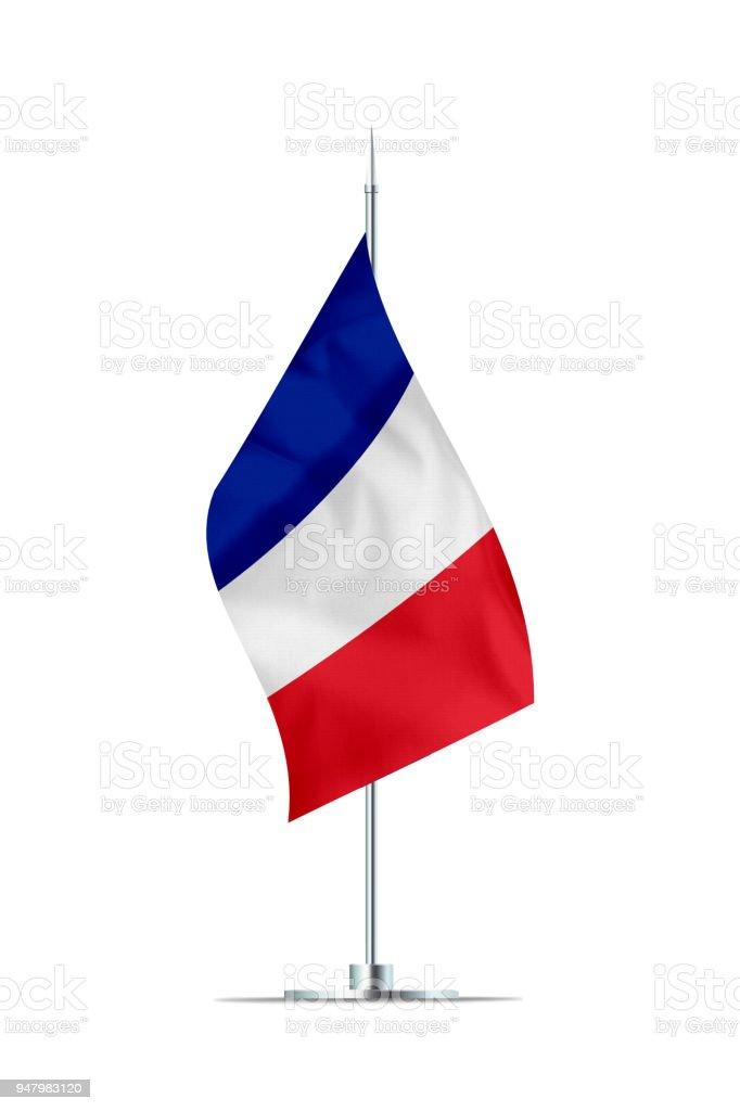 Petit pavillon de la France sur une tringle en métal - Photo
