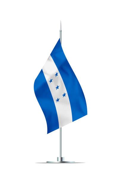 pequeña bandera de honduras en un poste de metal - bandera de honduras fotografías e imágenes de stock