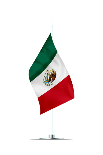 Small Mexican flag  on a metal pole. The flag has nicely detailed textile texture. Isolated on white background. 3D rendering.