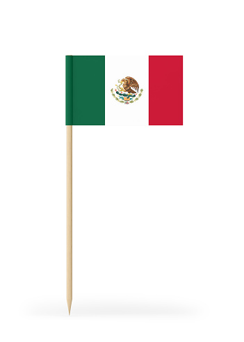 Small Mexican flag  on a toothpick. The flag has nicely detailed paper texture. High quality 3d render. Isolated on white background. 3D rendering.