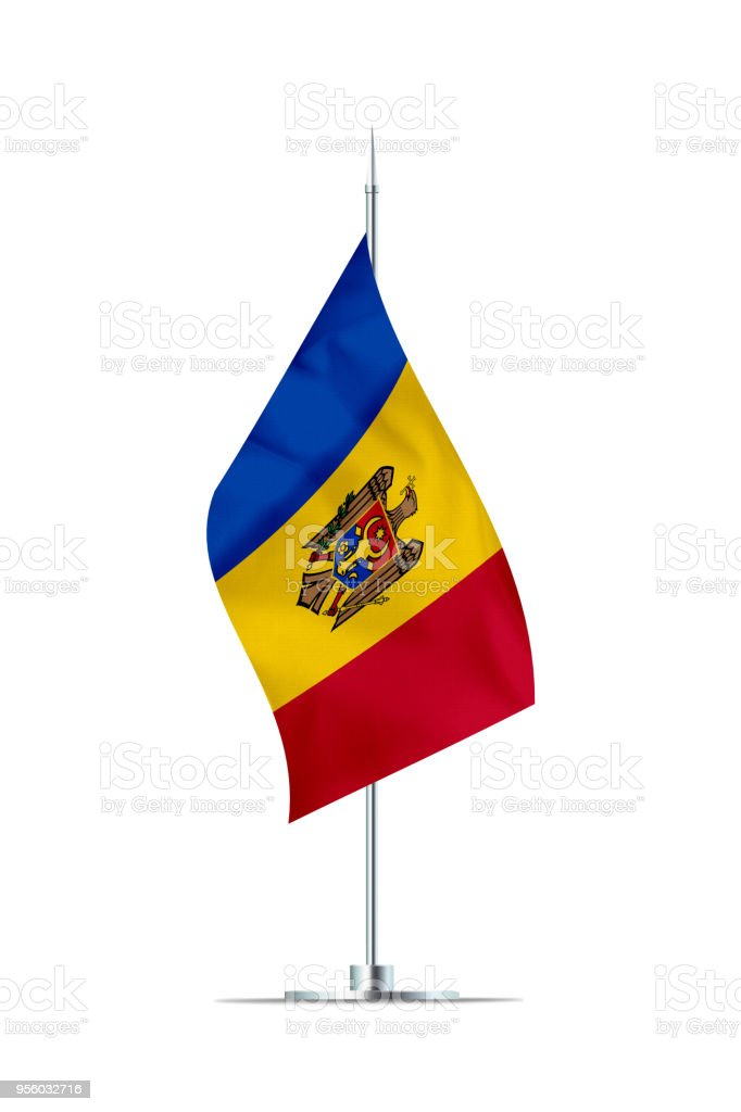 Small Flag of Moldova on a Metal Pole stock photo