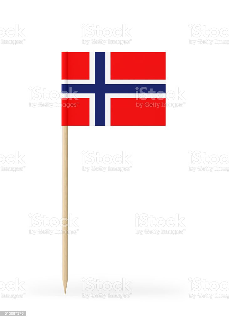 Small Flag of Norway on a Toothpick - fotografia de stock