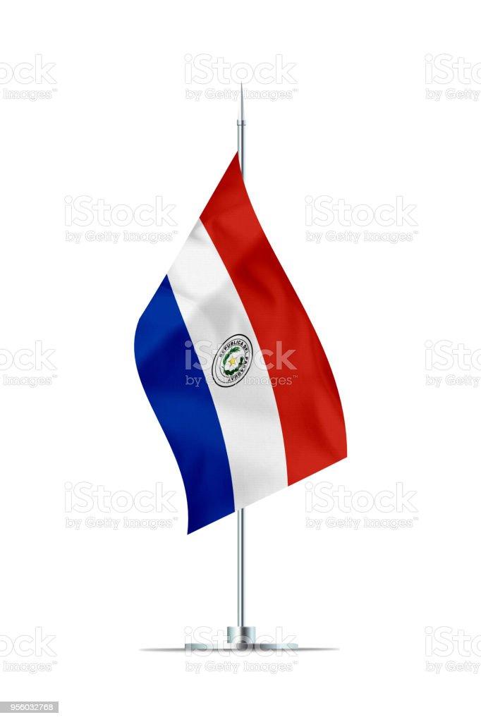 Pequeña bandera de Paraguay en un poste de Metal - foto de stock
