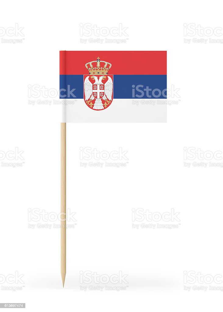 Small Flag of Serbia on a Toothpick - fotografia de stock