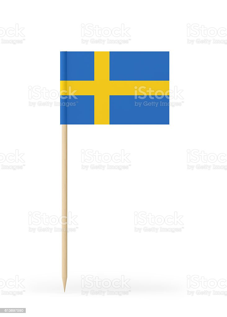 Small Flag of Sweden on a Toothpick - foto de acervo
