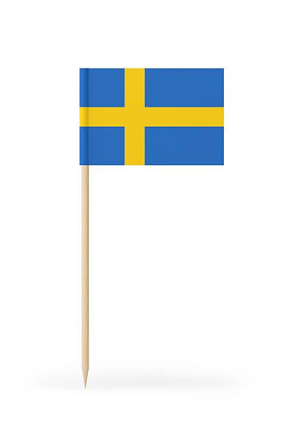 Small Flag of Sweden on a Toothpick - foto de acervo