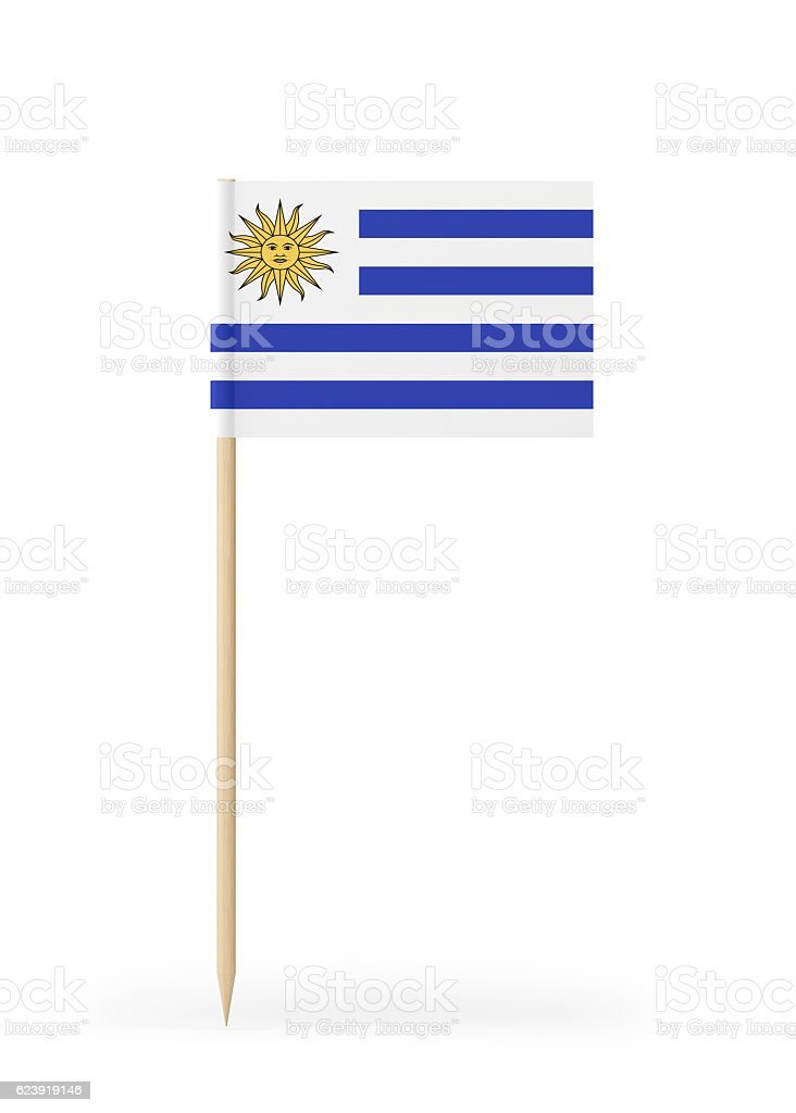 Small Flag of Uruguay on a Toothpick - foto de stock