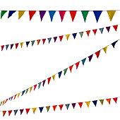 Festive garlands, fluttering colored ribbons, blue sky background, website cover about joyful mood, festival.