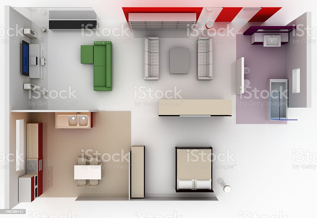 Small flat with furniture (top view) stock photo