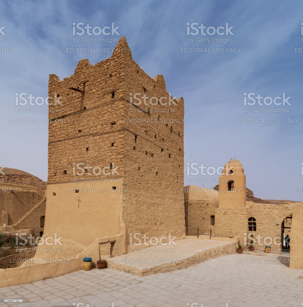 Small fort and tower at the Monastery of Saint Paul the Anchorite, located in the Eastern Desert, near the Red Sea mountains, Egypt stock photo