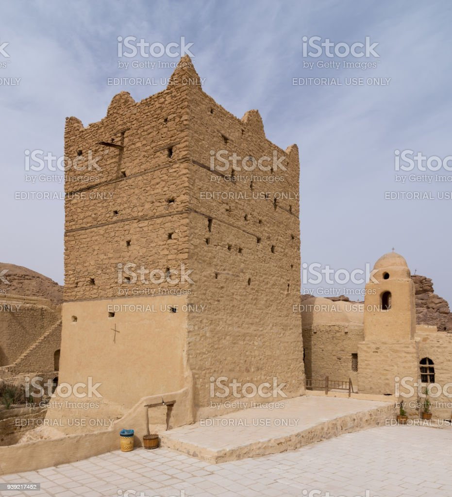 Small fort and tower at the Monastery of Saint Paul the Anchorite (aka Monastery of the Tigers), Egypt stock photo
